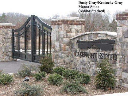 "Dusty Gray Manor Stone Entry Gate w Columns • <a style=""font-size:0.8em;"" href=""http://www.flickr.com/photos/40903979@N06/4287858977/"" target=""_blank"">View on Flickr</a>"